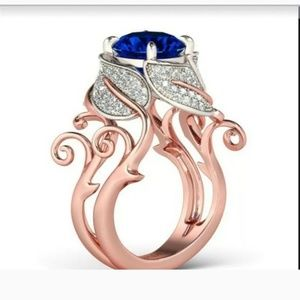 Jewelry - New Twotone Rose Gold and Silver Sapphire Ring.